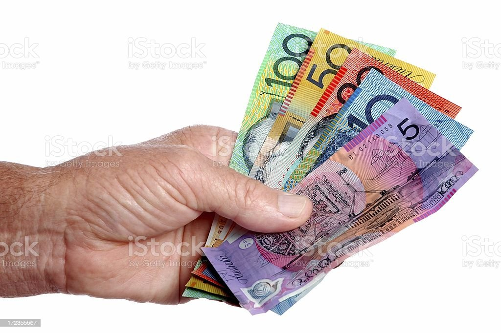 Australian cash in the Hand royalty-free stock photo