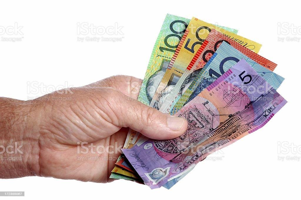 Australian dinero en la mano foto de stock libre de derechos