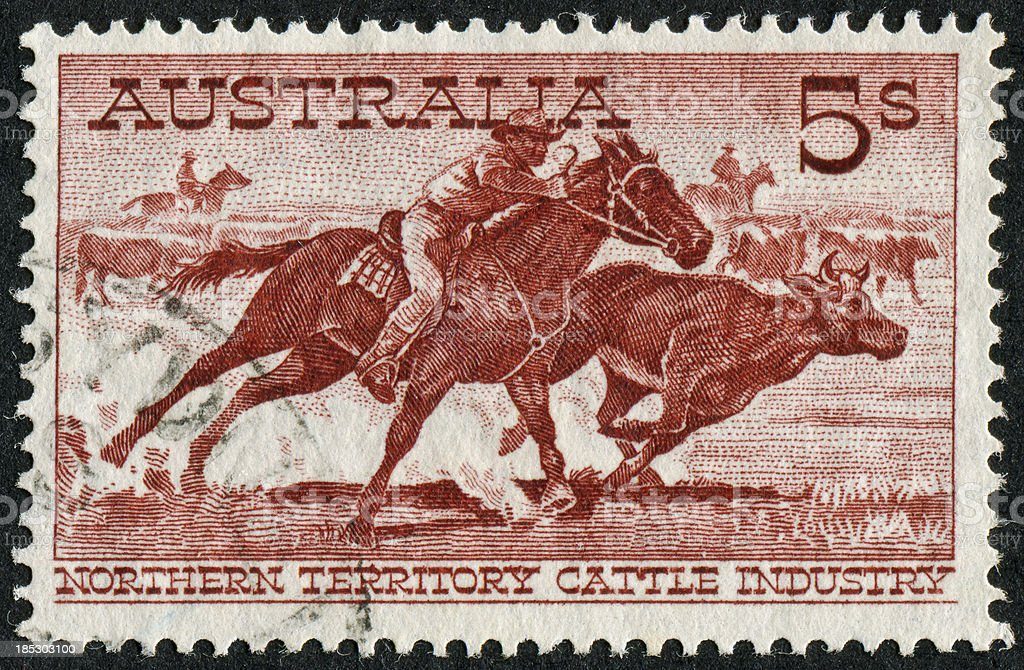 Australian Cattle Industry Stamp royalty-free stock photo