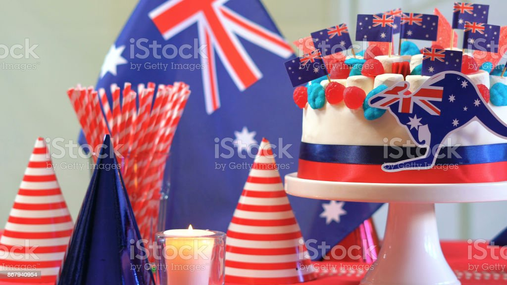 Australian celebration party table with showstopper cake stock photo
