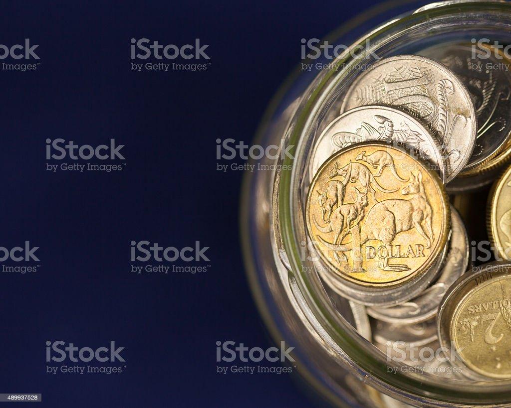 Australian Coins in a Jar stock photo