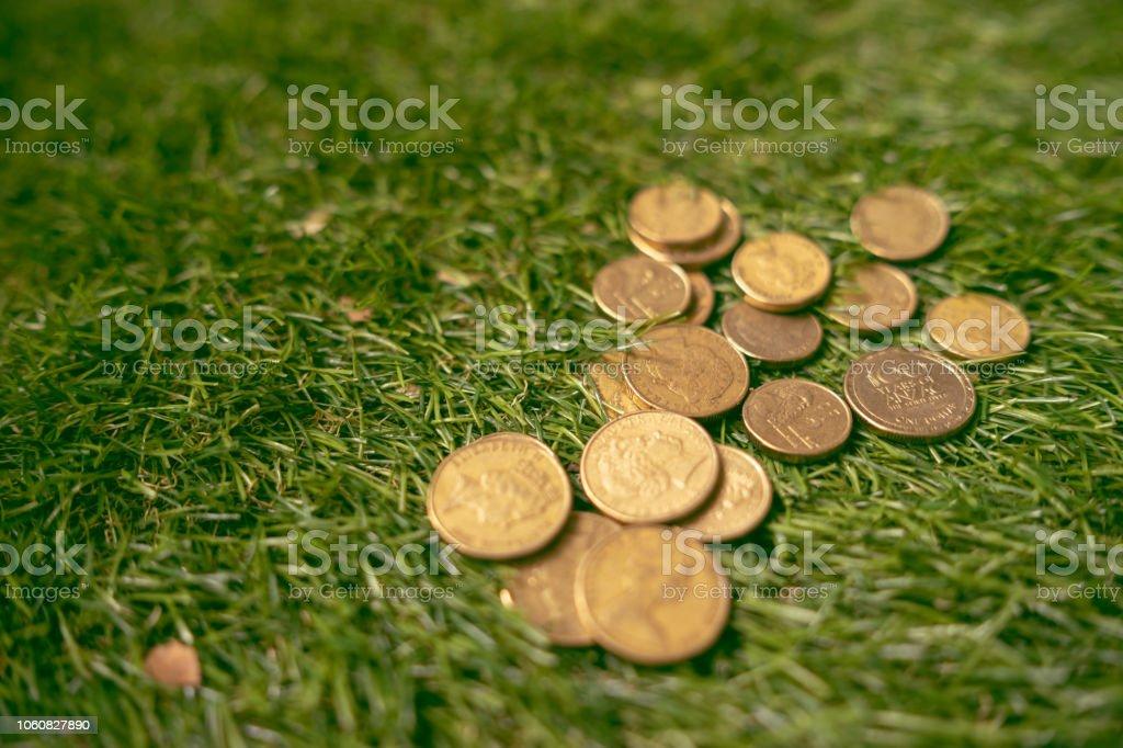 Australian coins on the grass stock photo