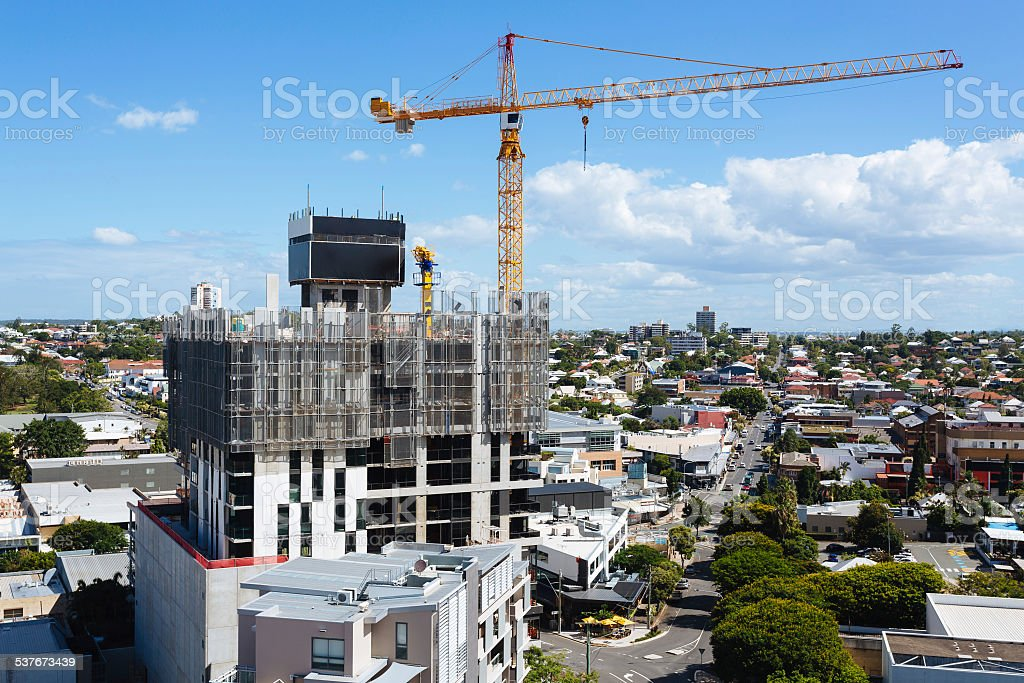 Australian construction site with screen system during the day stock photo