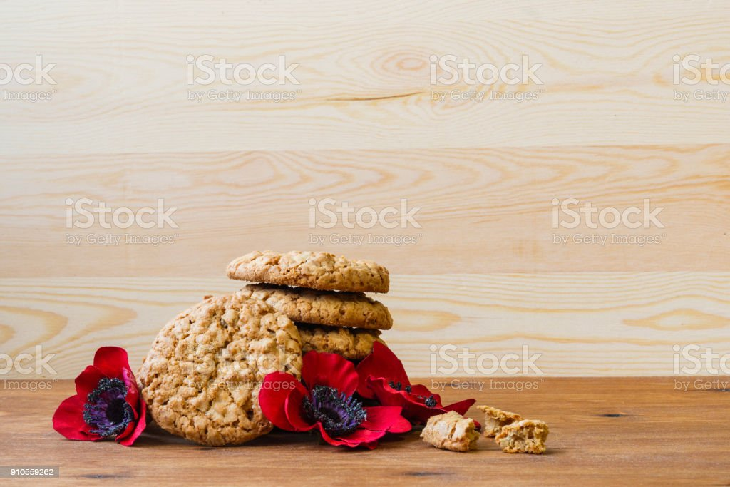 Australian cookies Anzac with Anzac DAy so we do not forget the message about the dark forest and slide. stock photo