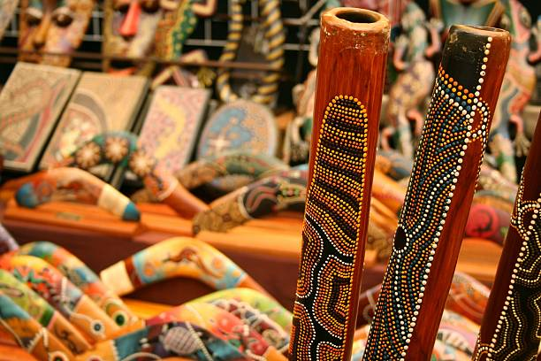 australian crafts - didgeridoo stock photos and pictures