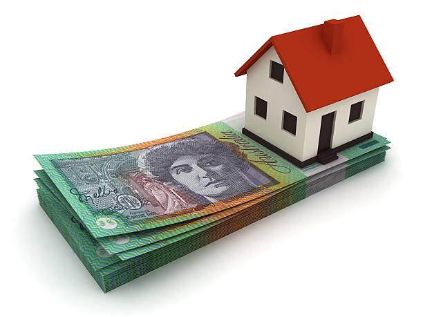 Australian currency house real estate price mortgage concept stock photo