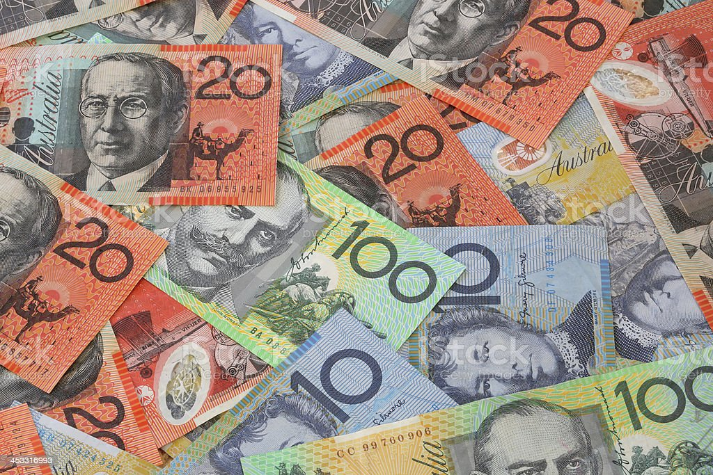 Australian currency in many values stock photo