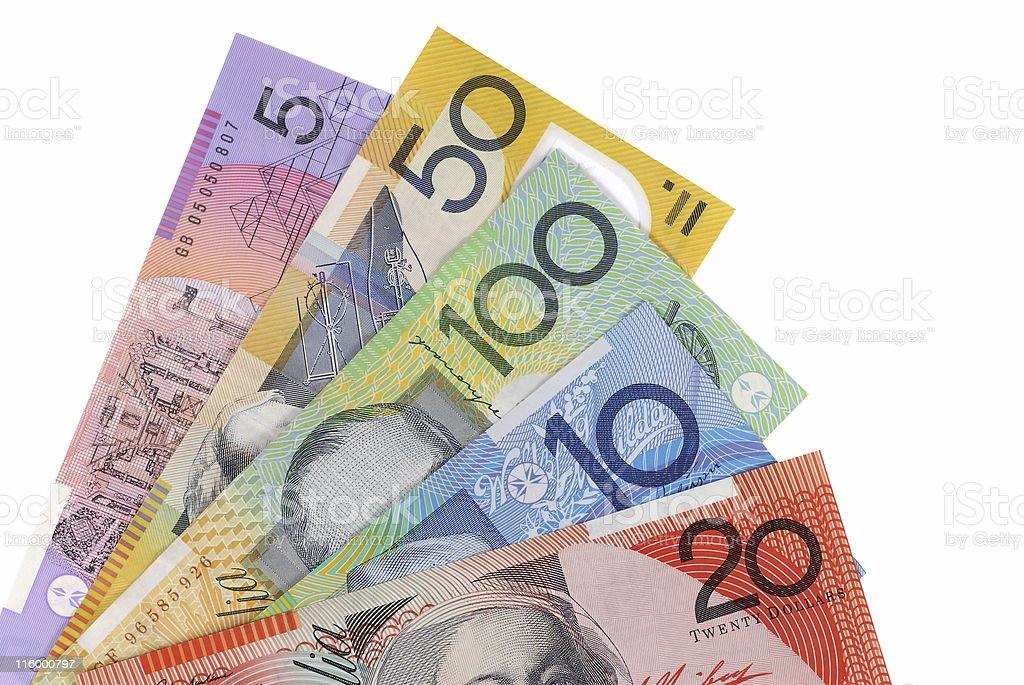 Australian currency notes stock photo