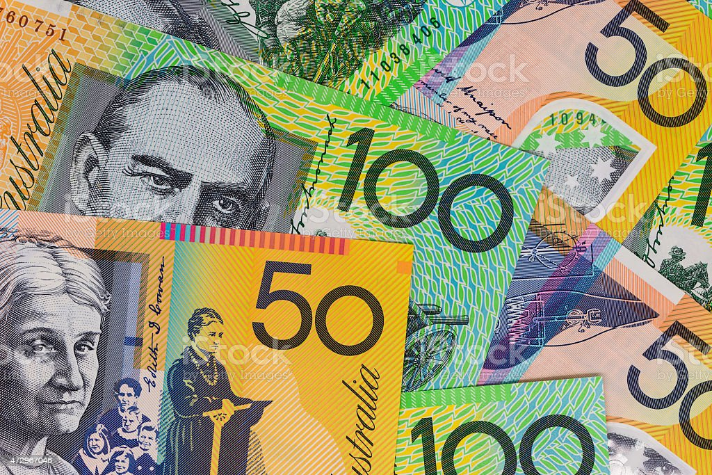 Australian Currency - One hundred and fifty dollar notes stock photo