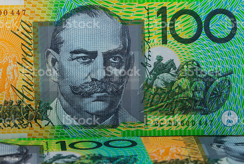 Australian Currency - One Hundred Dollar Notes stock photo