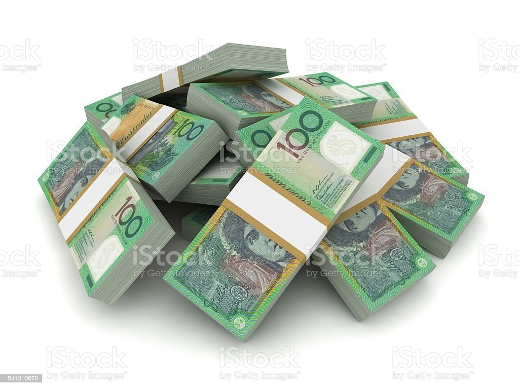 Australian currency stacks concept stock photo