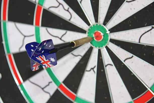 australian dart on target - target australia stock pictures, royalty-free photos & images