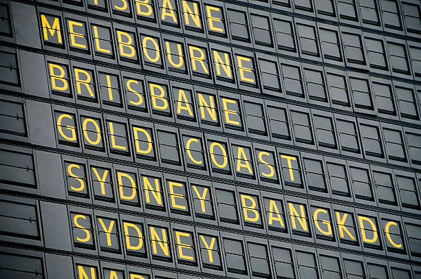australian departure board - arrival departure board stock photos and pictures