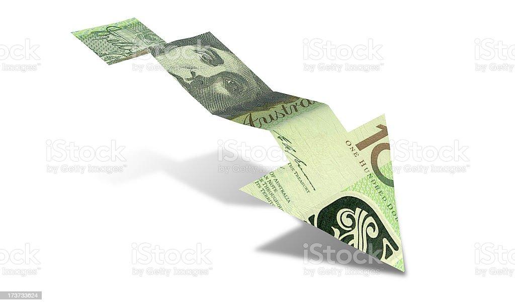 Australian Dollar Bank Note Downward Trend Arrow royalty-free stock photo