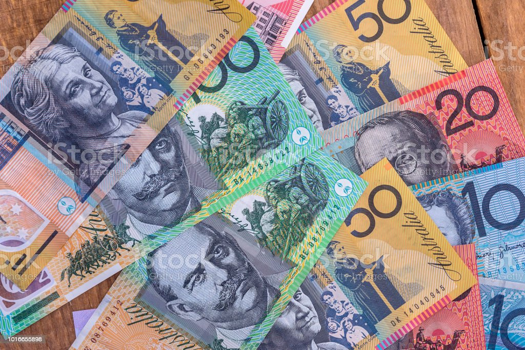 Australian dollar banknotes used as background, closeup stock photo