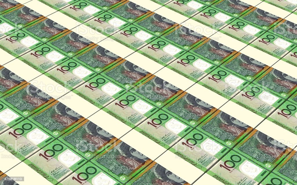 Australian dollar bills stacks background. stock photo