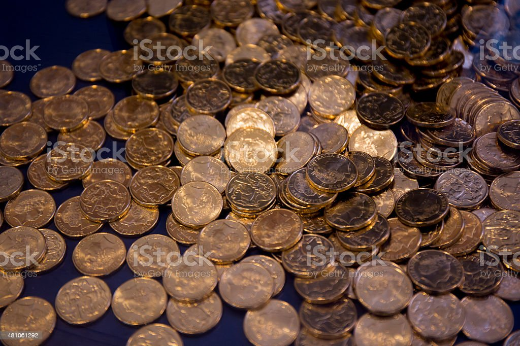 Australian dollar coins background stock photo