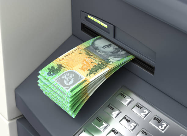 Australian Dollar From The ATM stock photo