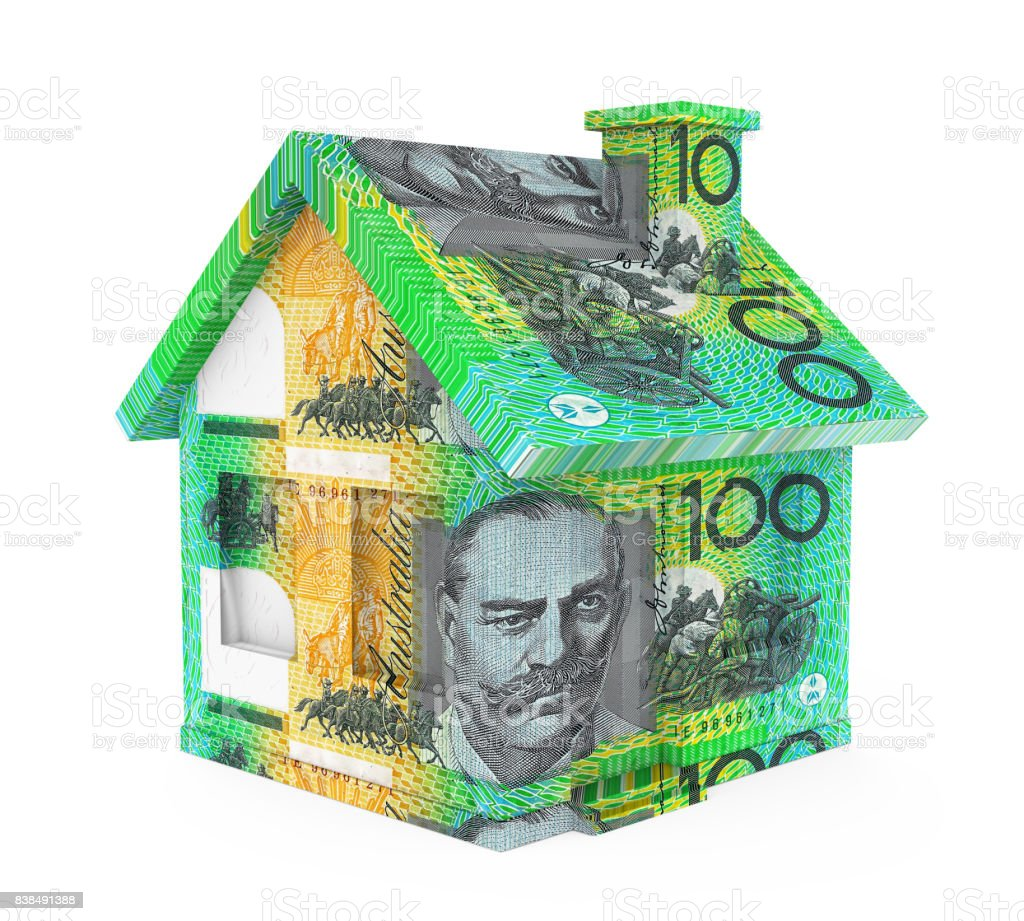 Australian Dollar House Isolated stock photo