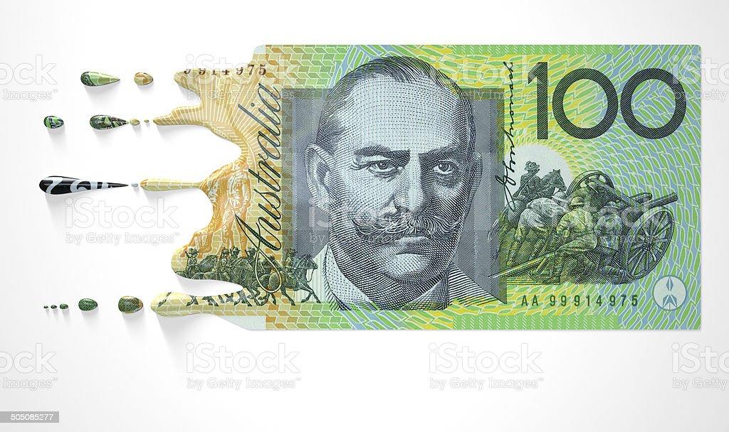 Australian Dollar Melting Dripping Banknote stock photo