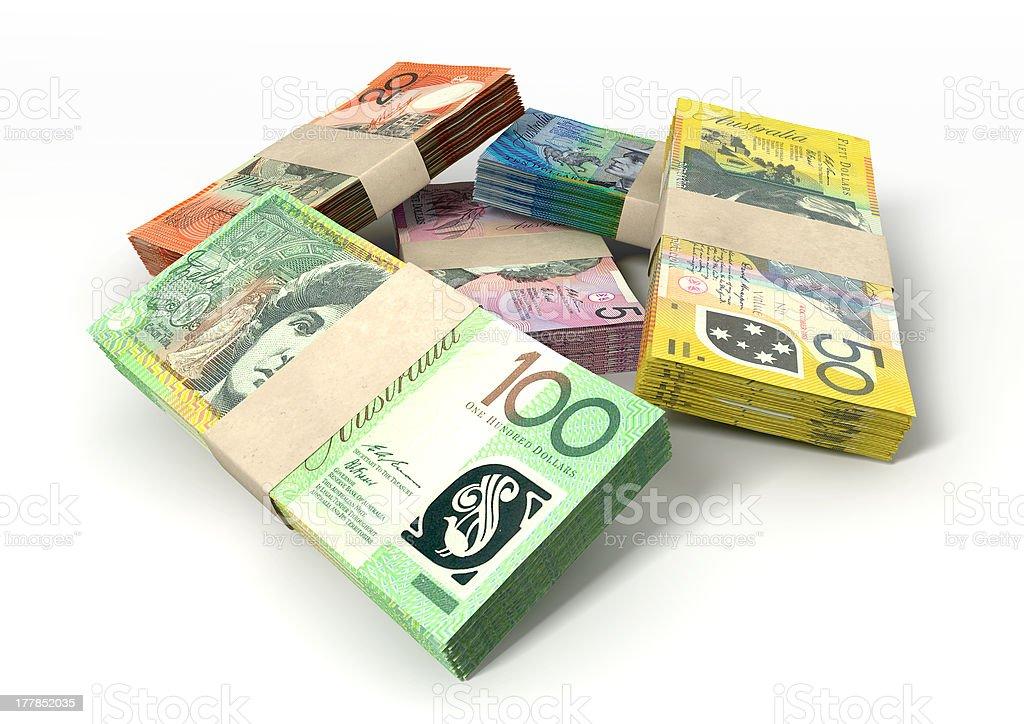 Australian Dollar Notes Bundles Stack stock photo