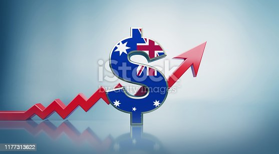 istock Australian Dollar Symbol with Red Arrow Moving Up on Defocused Background 1177313622