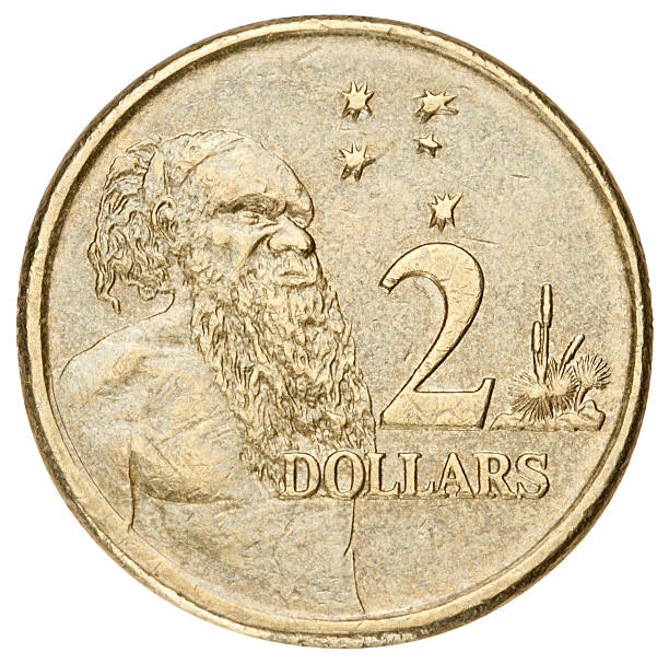 Australian dollar with clipping path on white background stock photo