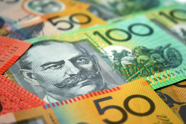 Australian dollars background stock photo