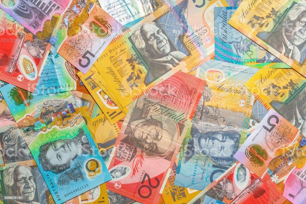 Australian dollars background stock photo