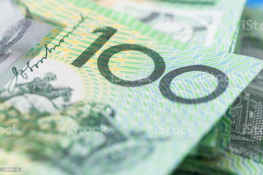 100 Australian Dollars Banknotes AUD stock photo