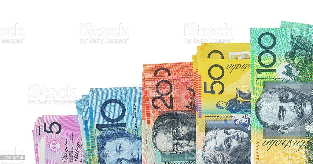 Australian Dollars isolated on white stock photo