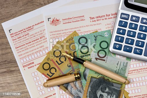istock Australian dollars with calculator and tax form 1140216536