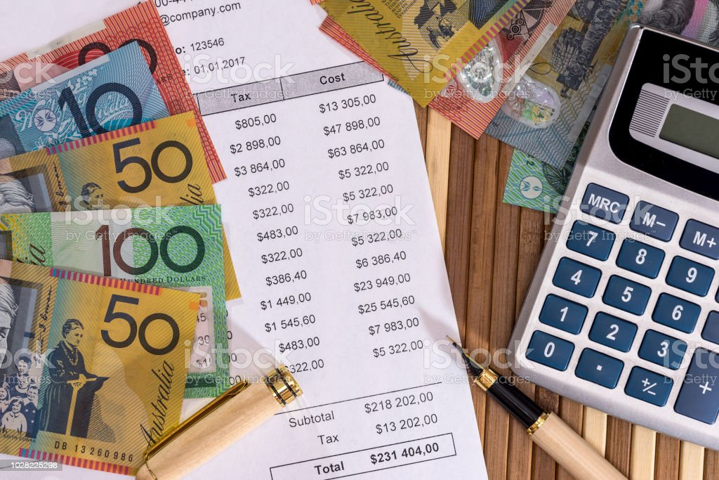 Australian dollars with purchase order and calculator stock photo