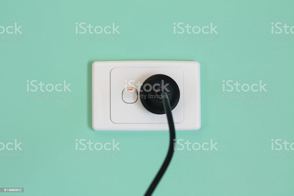 Australian electric wall outlet, power cord and plug. stock photo
