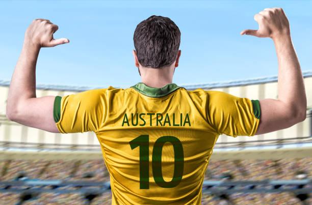 Fã australiano / jogador comemorando - foto de acervo