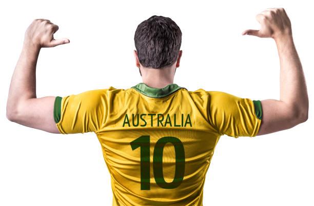 Australian Fan / Sport Player on uniform celebrating stock photo