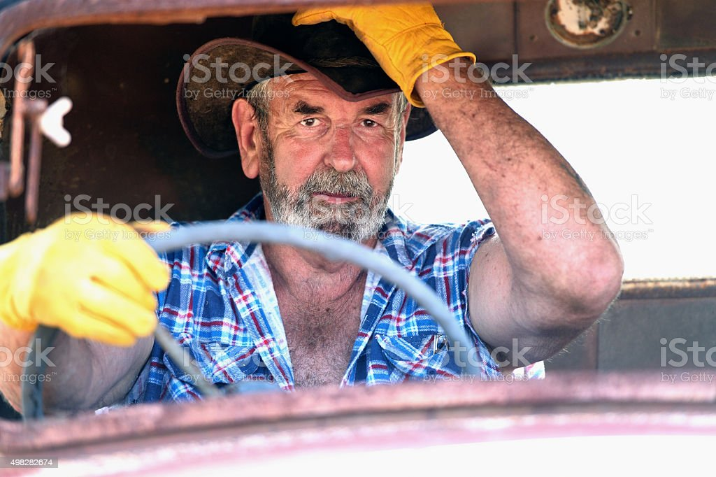 Australian Farmer Driving Truck stock photo