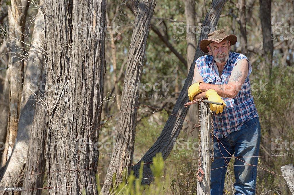 Australian Farmer Fencing royalty-free stock photo