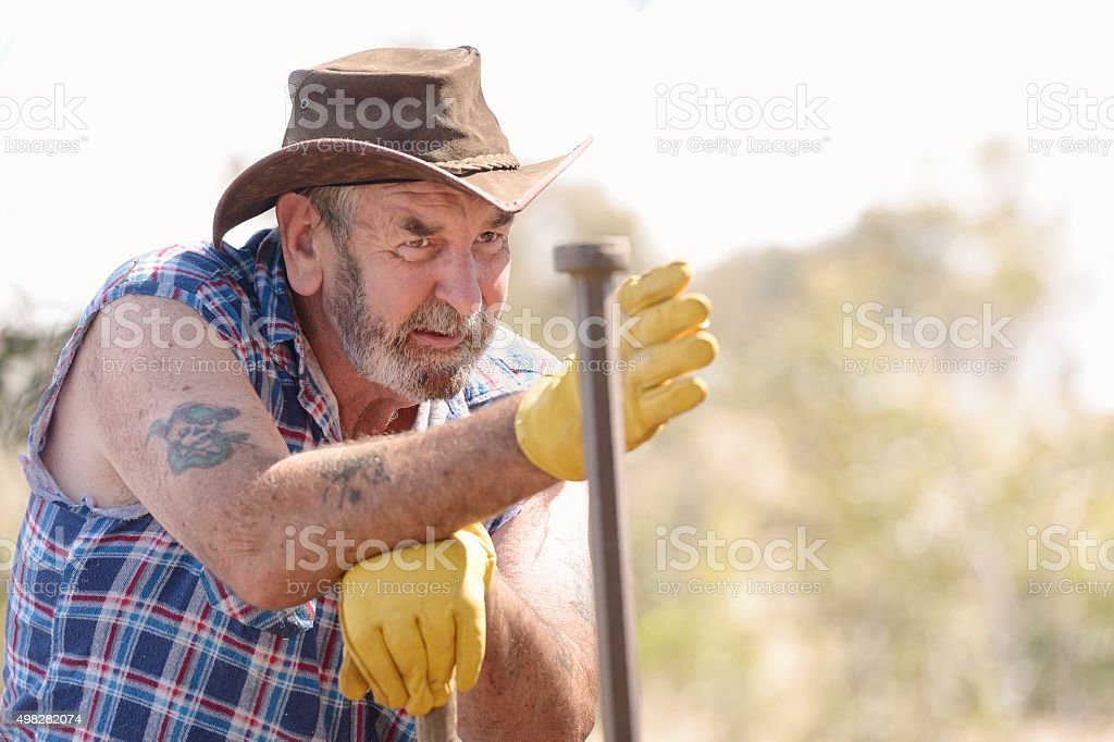 Australian Farmer Fencing stock photo
