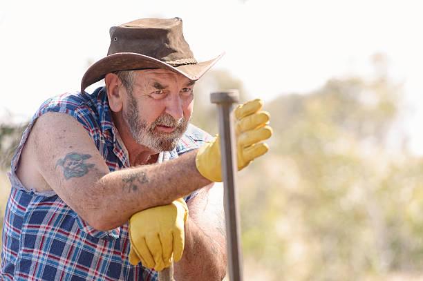 Australian Farmer Fencing stock photo