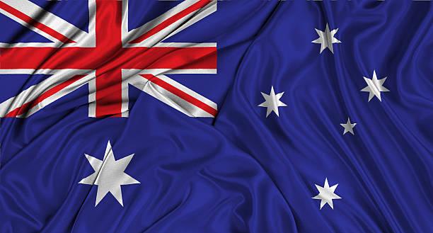 Australian flag 3d, silk textured stock photo