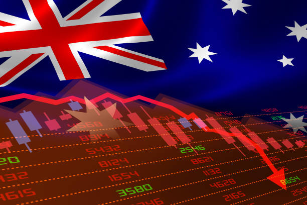 Australian Flag and Economic Downturn With Stock Exchange Market Indicators in Red stock photo