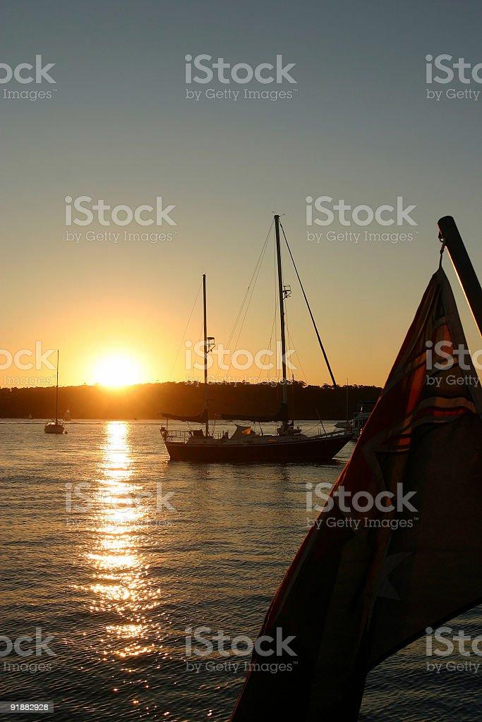 australian flag at sunset royalty-free stock photo