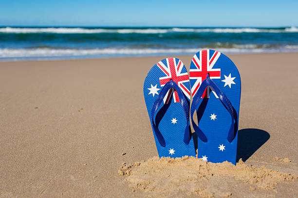 Australian Flag Beach Thongs stock photo