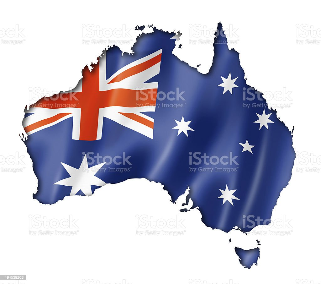 Australian flag map stock photo