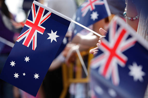 Australian Flag March stock photo