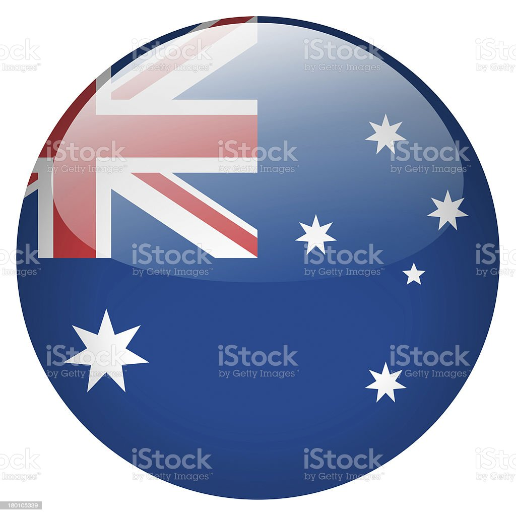 Australian flag on a button icon stock photo
