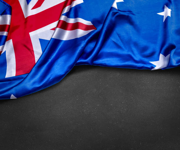 Australian flag on blackboard stock photo