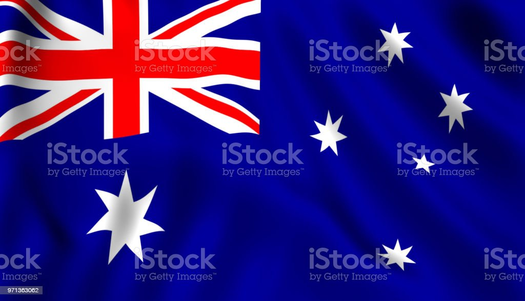Australian Flag Waving In The Wind Symbol Of Australia Stock Photo