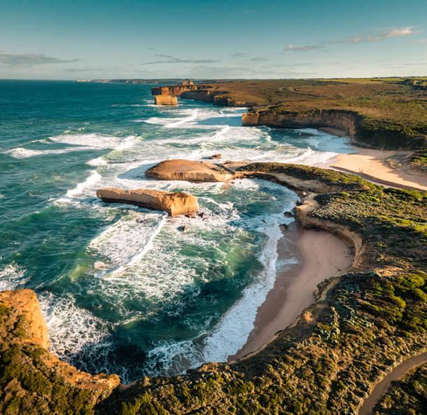 australian great ocean road coastline australian great ocean road coastline rocky coastline stock pictures, royalty-free photos & images